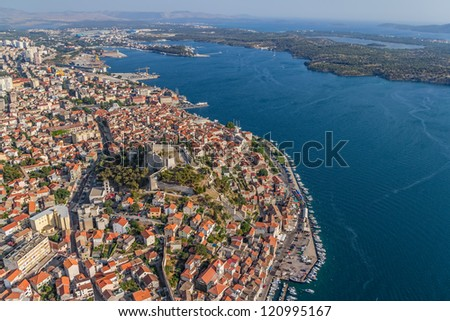 Adriatic tourist destination Sibenik, Croatia.  Helicopter aerial shot. - stock photo