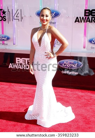 Adrienne Bailon at the 2014 BET Awards held at the Nokia Theatre L.A. Live in Los Angeles, USA on June 29, 2014.   - stock photo