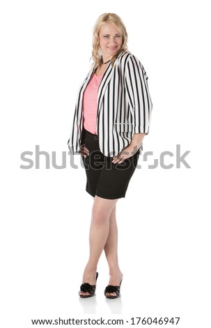 Adult blonde caucasian businesswoman wearing black shorts pink top and a striped jacket. Image is isolated on a white background. - stock photo