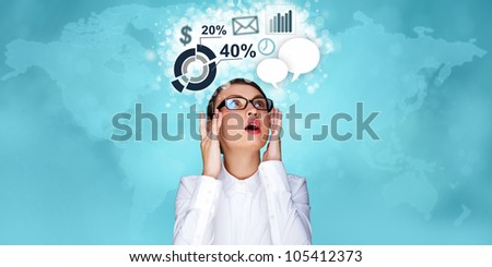 Adult business woman working at virtual office. Digital century and modern technologies concept - stock photo
