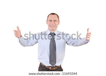 adult businessman welcomes visitors with smile on person. - stock photo