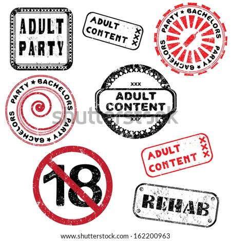 Adult content and bachelors party stamps collection isolated on white - stock photo
