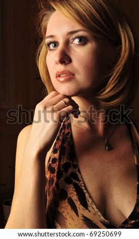 Adult dreaming woman beauty portrait - stock photo