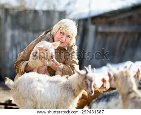 Adult female farmer holding a small pig.Focus on a pig - stock photo