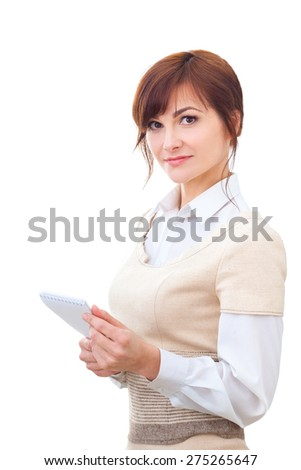 adult female makes some notes in notepad, isolated on white - stock photo