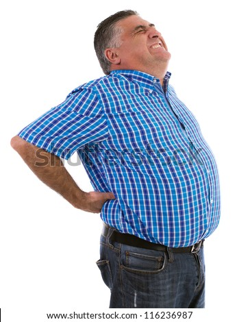 Adult male complaining his backache - stock photo