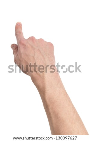 adult male hand touching virtual screen, isolated on white - stock photo