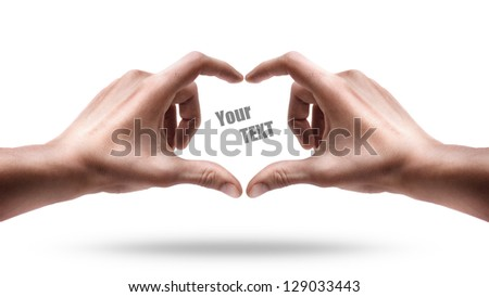 Adult male hands shows heart shape isolated on white background. High resolution - stock photo