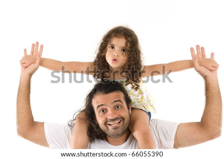 Adult male holding a cute child girl . - stock photo