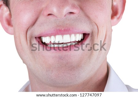 adult male smile closeup isolated on a white background - stock photo