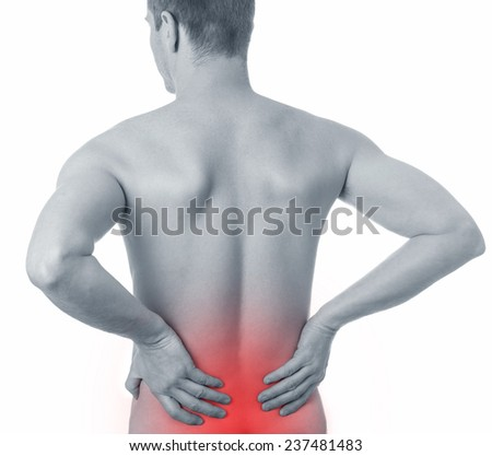 Adult male with acute backache - stock photo