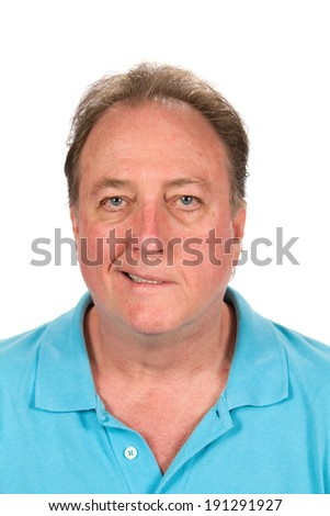 Adult male with the distorted facial affliction of Bell's palsy. - stock photo