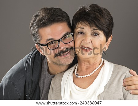 Adult Man and his Senior Adult Mother  - stock photo
