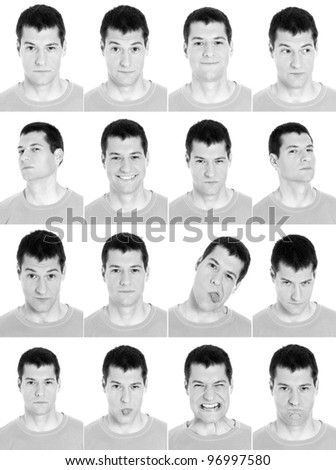 Adult man face expressions composite composite black and white isolated. - stock photo
