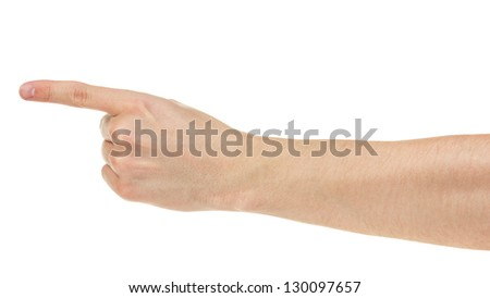 adult man hand show direction, isolated on white - stock photo