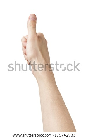 adult man hand thumb up pov view, isolated on white - stock photo