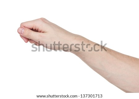 adult man hand to hold paper card, isolated on white - stock photo