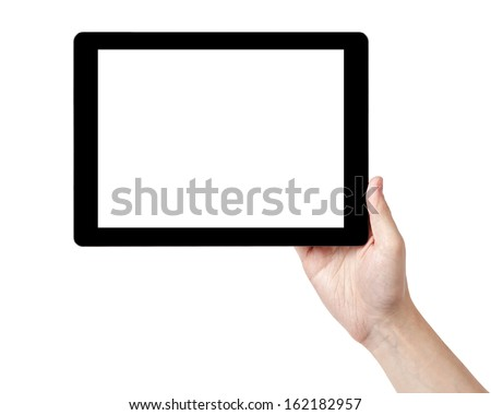 adult man hands holding tablet pc with white screen, isolated - stock photo