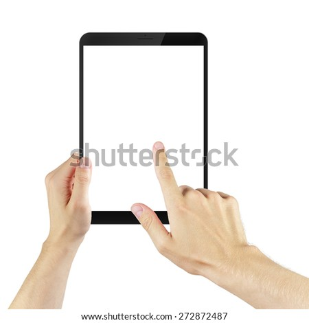 adult man hands using tablet pc with white screen, isolated - stock photo