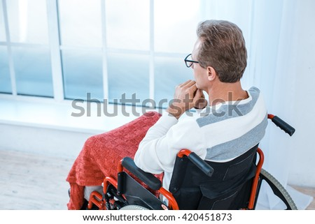 Adult man in wheelchair. White interior with big window. Sad man with glasses looking at window. Back view photo - stock photo