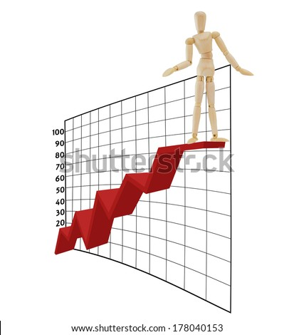 Adult Mannequin Standing  at top of Business Graph Chart isolated on white background - stock photo