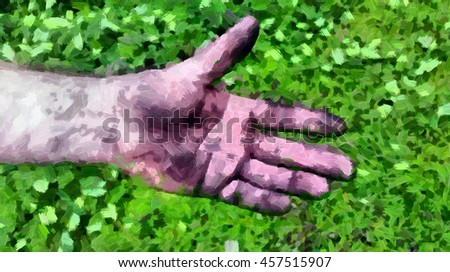 Adult men's hand smeared with charcoal, dirt and dust. Illustration - stock photo