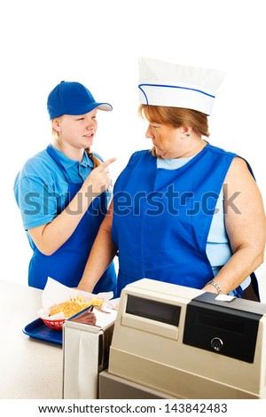 Adult woman deals with the indignity of getting yelled at by her teenage boss.  White background. - stock photo
