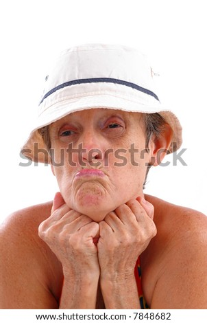 Adult woman making a funny face . - stock photo