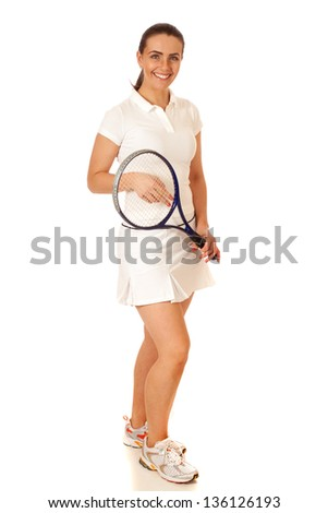 Adult woman tennis player. Studio shot over white. - stock photo