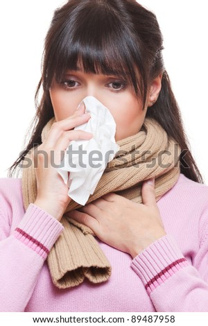 adult woman with cold. isolated on white background - stock photo