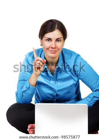 Adult woman with laptop computer isolated on white - stock photo