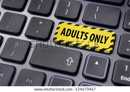 adults only message on enter key, for pornography websites concepts. - stock photo