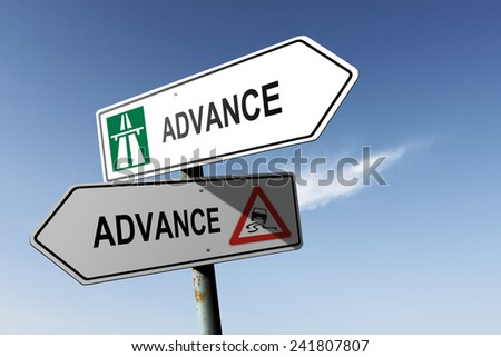 Advance directions. Choice for easy way or hard way. - stock photo
