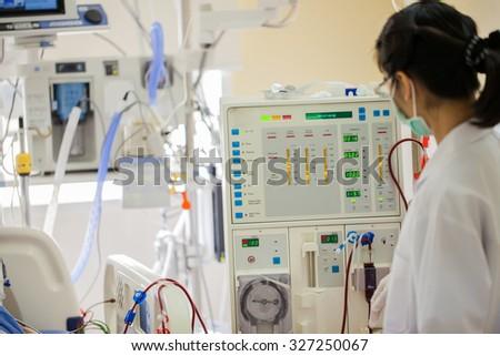 Advanced dialysis equipment in hospital - stock photo