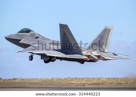Advanced fight jet taking off - stock photo