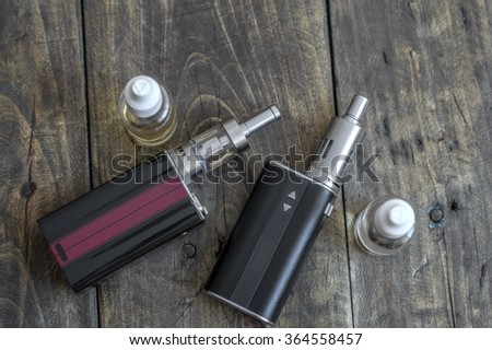 Advanced personal vaporizer or e-cigarette, from above - stock photo