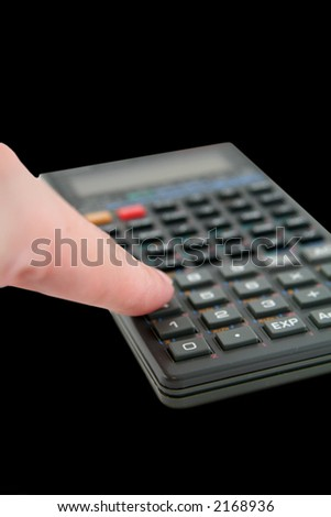 Advanced Scientific Calculator Isolated on White Background with Finger - stock photo