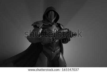 Advanced stealth soldier - stock photo