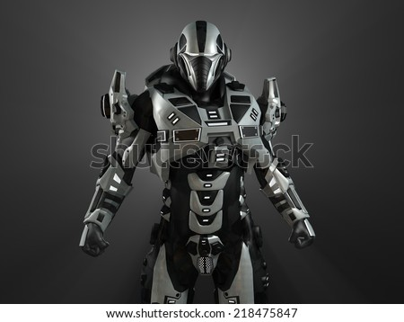 Advanced super soldier - stock photo