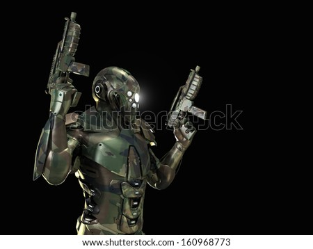 advanced super soldier in camouflage  - stock photo
