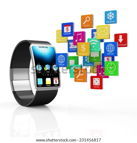 Advanced Technology Concept. Modern Black Smart Watch with Cloud of Application Icons isolated on white background - stock photo