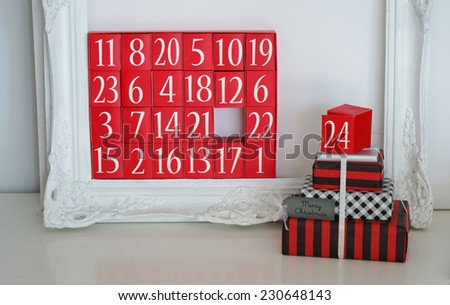 Advent Calendar and Christmas Presents Christmas Eve Concept Stock Photo - stock photo