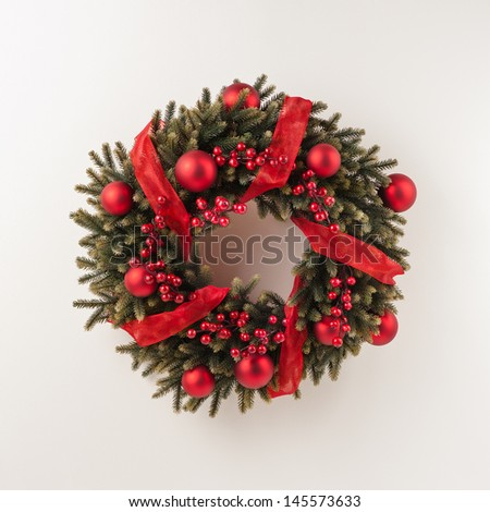 Advent Christmas wreath for door decoration over white - stock photo