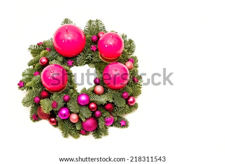 Advent Christmas wreath with pink candles, right you can write some text - stock photo