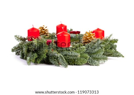 advent wreath candles christmas on white background - stock photo
