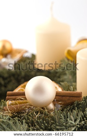 Advent wreath isolated on white - stock photo