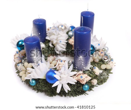 advent wreath with blue candles - stock photo