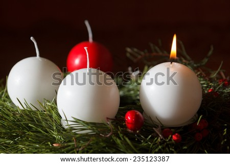 Advent wreath with candles for the pre Christmas time - stock photo