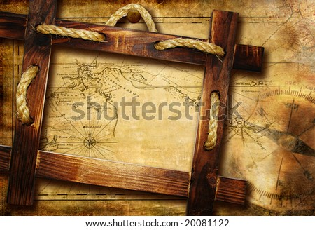 adventure background with map and wooden frame - stock photo