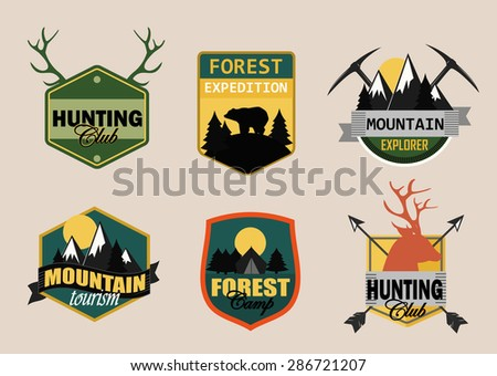 Adventure, outdoors, camping logo emblems set.Vintage badges and labels set. (raster version) - stock photo